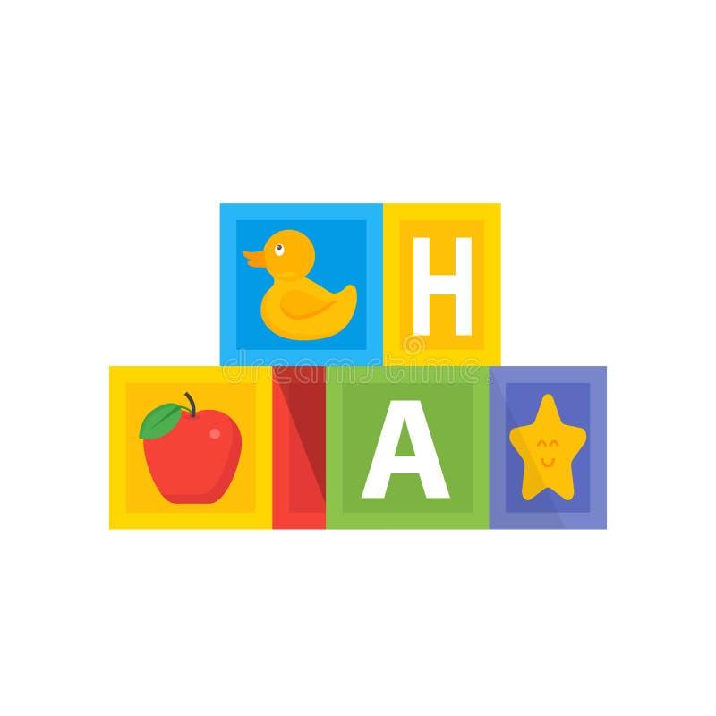 Barwiony dziecko sześcianu dowcipu abc abecadło Dzieciak zabawki ilustracyjne ilustracji