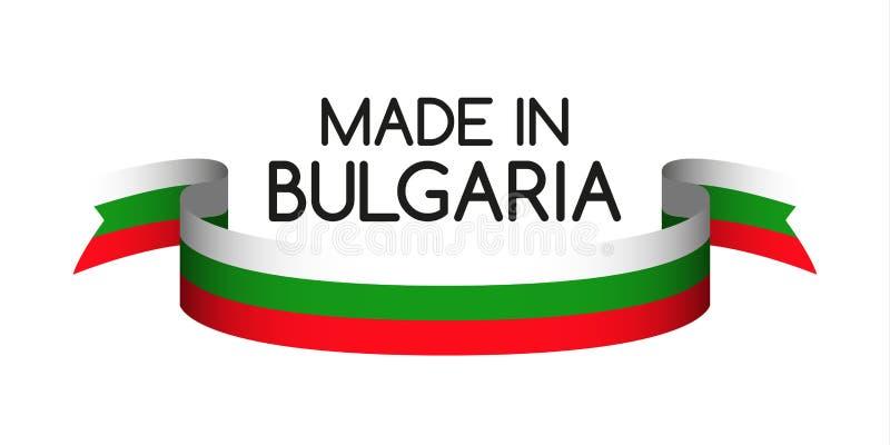 Barwiony faborek z Bułgarski tricolor, Robić w Bułgaria ilustracji