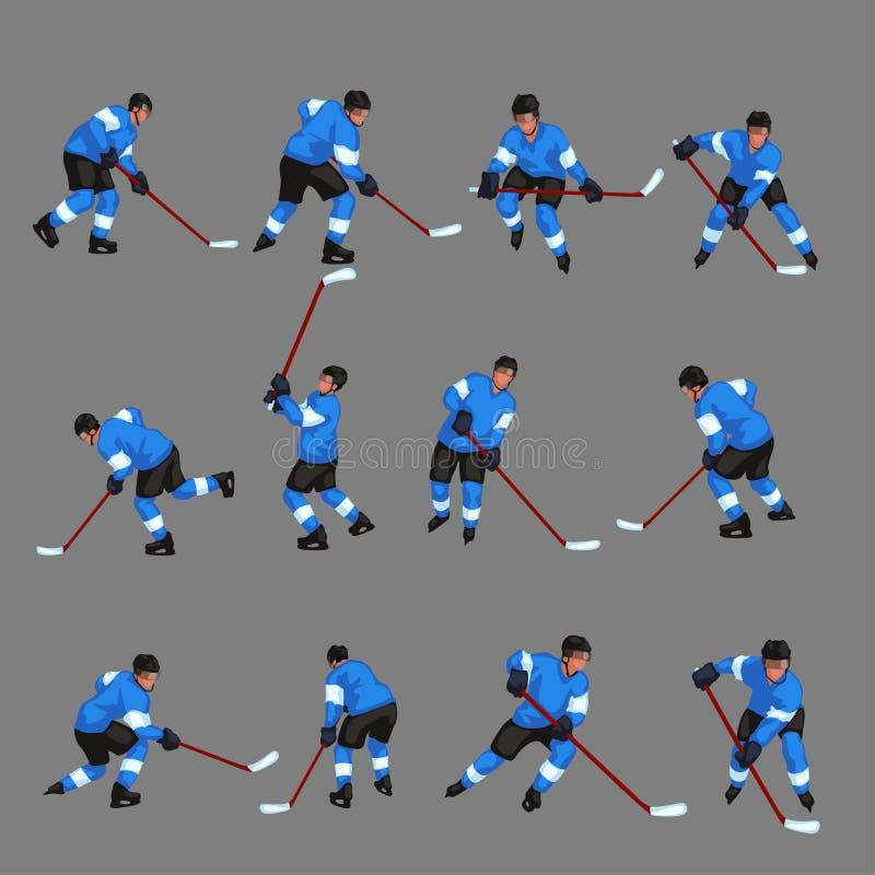 Barwiony gracz w hokeja ustawia 3 ilustracji