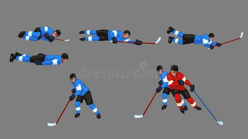 Barwiony gracz w hokeja ustawia 6 ilustracja wektor