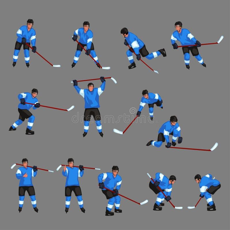 Barwiony gracz w hokeja ustawia 4 ilustracja wektor