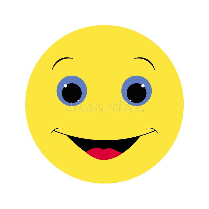 Barwiony ikona uśmiechu emoci kolor żółty na białym tle royalty ilustracja
