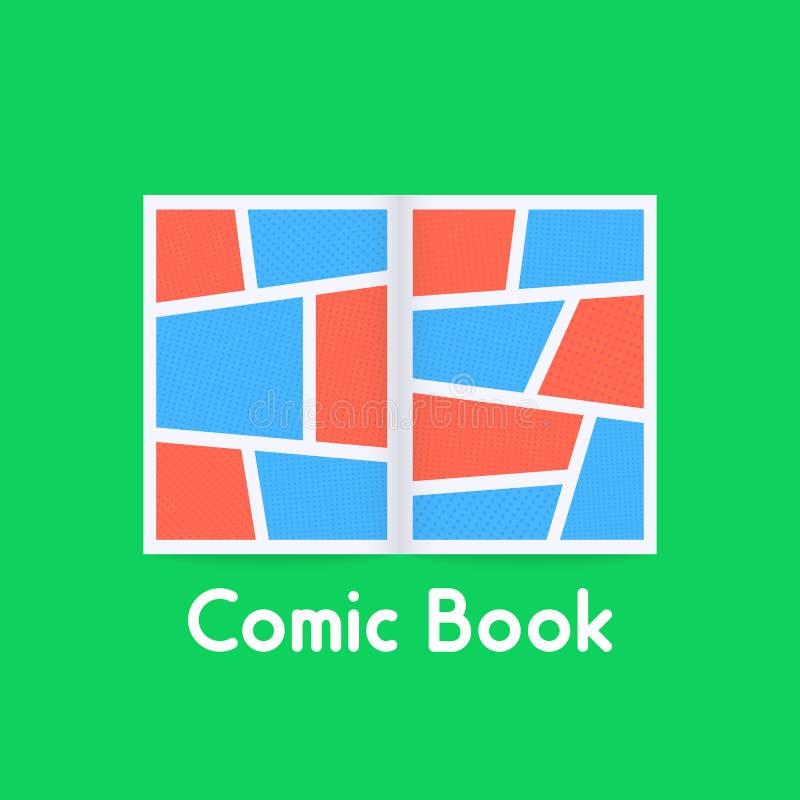 Barwiony komiks na zielonym tle royalty ilustracja
