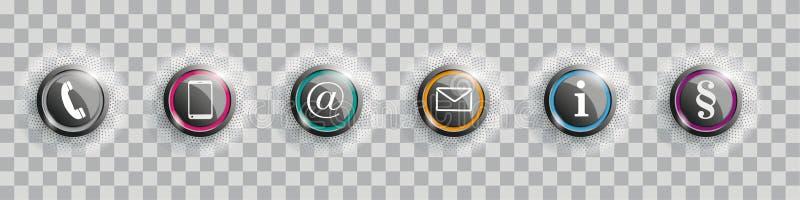 Barwiony Kontaktowych guzików akapit Z Halftone Przejrzystym ilustracji