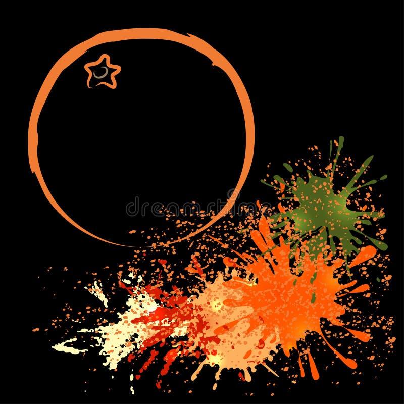 Barwiony kontur pomarańcze z kleksami, wektorowa ilustracja fotografia royalty free