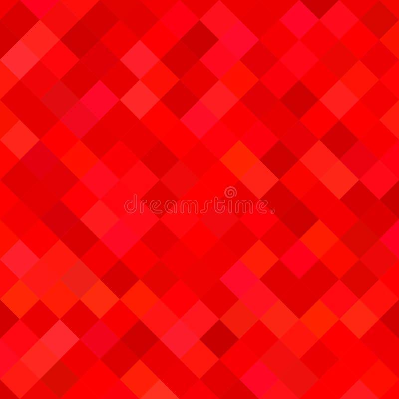Barwiony kwadrata wzoru tło - geometryczna wektorowa ilustracja od przekątny obciosuje w czerwonych brzmieniach royalty ilustracja