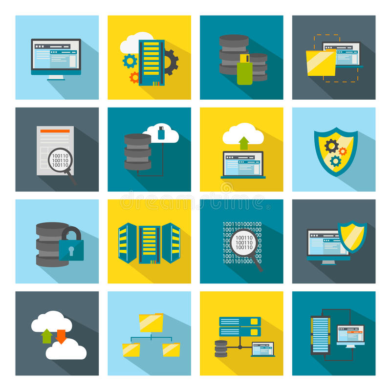 Barwiony Kwadratowy Datacenter ikony set ilustracja wektor
