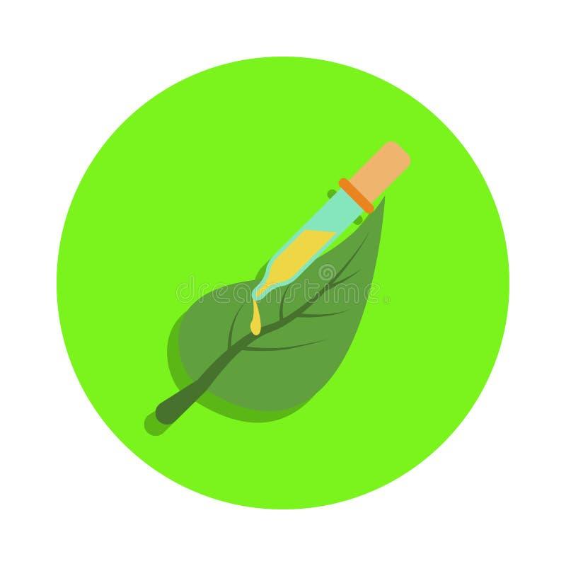 barwiony liść roślina i próbna tubka w zielonej odznaki ikonie Element nauka i laboratorium dla mobilnych apps pojęcia i sieci sz ilustracji