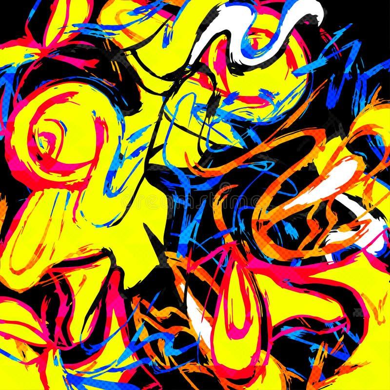 Barwiony linia graffiti wzór na czarnej tło wektoru ilustraci royalty ilustracja