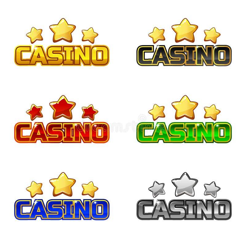 Barwiony loga teksta kasyno i gwiazda Dla Ui gry elementu royalty ilustracja