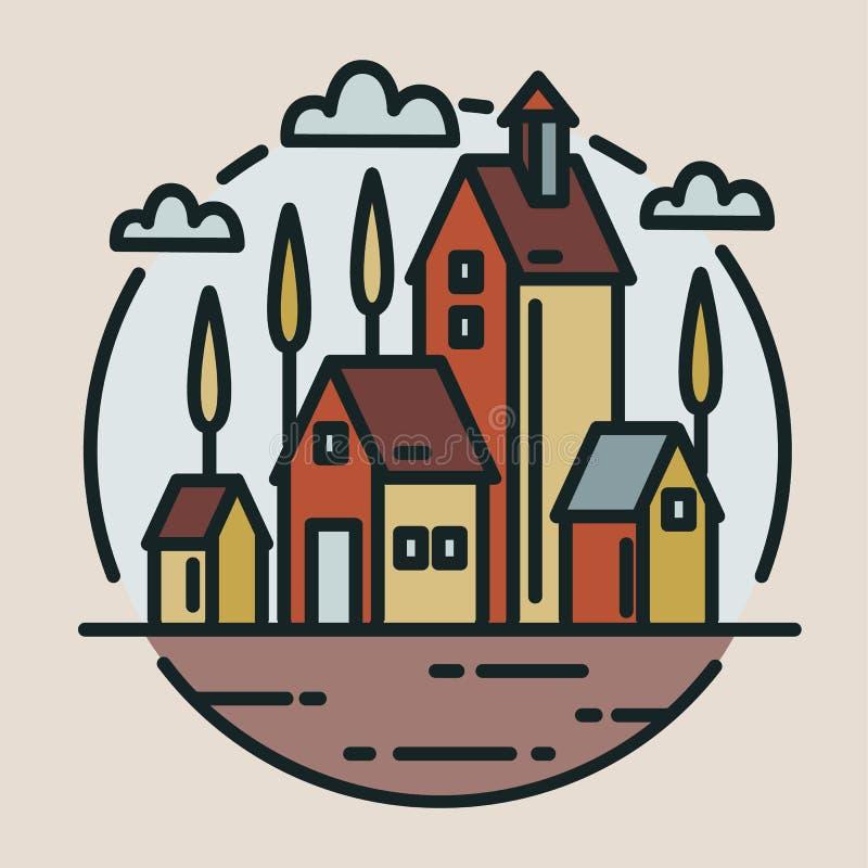 Barwiony logotyp z małą wioską, rancho lub organicznie rolni budynki rysujący w nowożytnej kreskowej sztuce, projektujemy Kółkowy royalty ilustracja