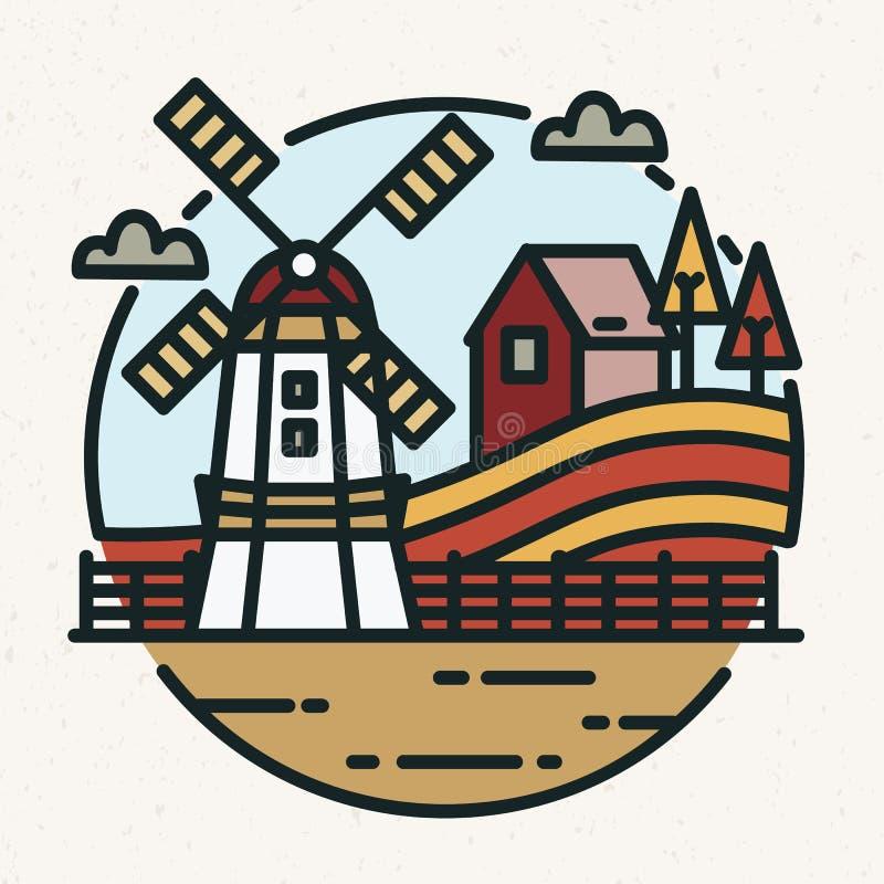 Barwiony logotyp z wieś krajobrazem, rolnym budynkiem, wiatraczkiem, wzgórzami i kultywującym polem w lineart stylu, royalty ilustracja
