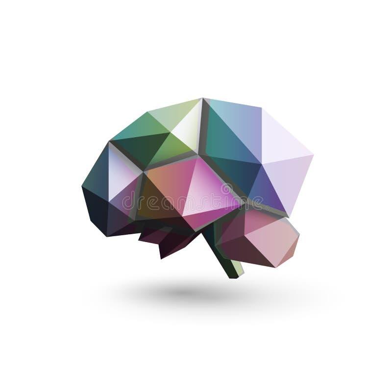 Barwiony mózg, poligonalny projekt, wektorowa ilustracja Nauki badanie i rozwój loga laborancki szablon mózg ilustracja wektor