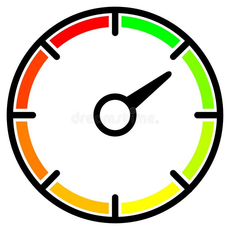 Barwiony metr z strzałą Prosty szybkościomierz, round wymierniki dla sieci, wisząca ozdoba i infographics, royalty ilustracja