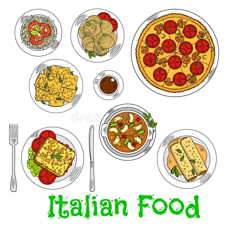 Barwiony nakreślenie zdrowi włoscy naczynia ilustracja wektor