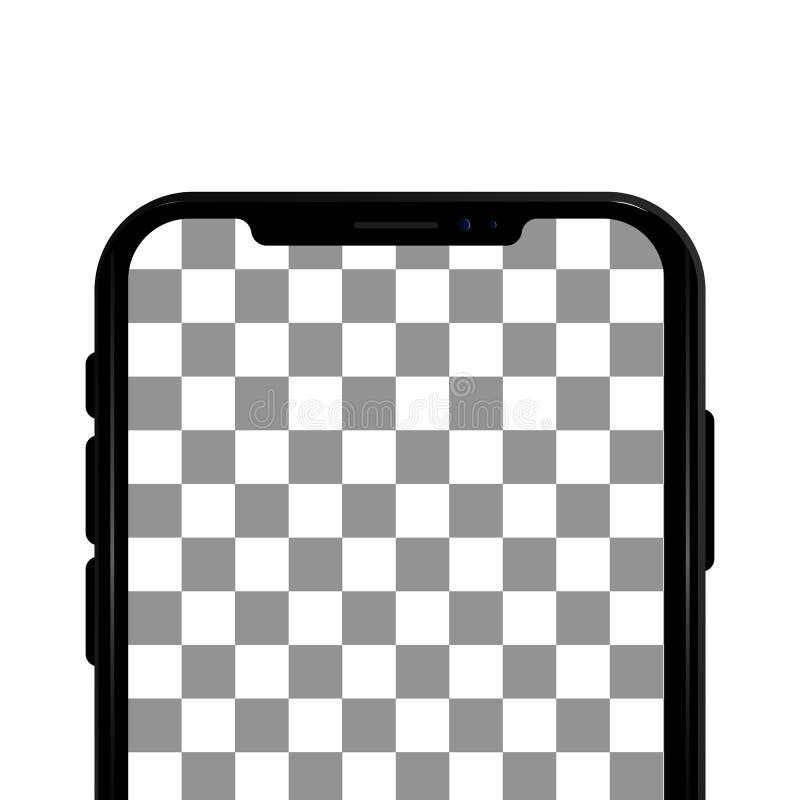 Barwiony pojęcie nowożytny telefon z podwójnej kamery mobilnymi szablonami na przejrzystym tle Egzamin próbny up telefon Wysokiej ilustracja wektor
