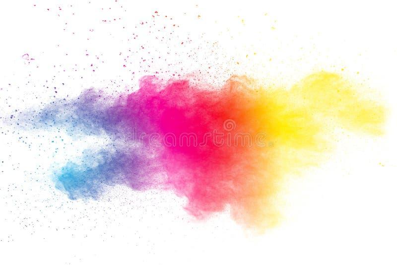 Barwiony proszek splatted na białym tle obrazy stock