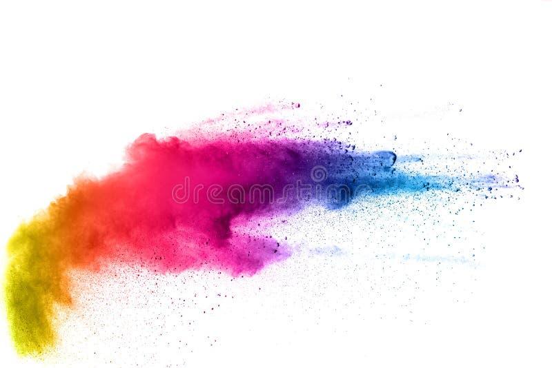 Barwiony proszek splatted na białym tle zdjęcia stock