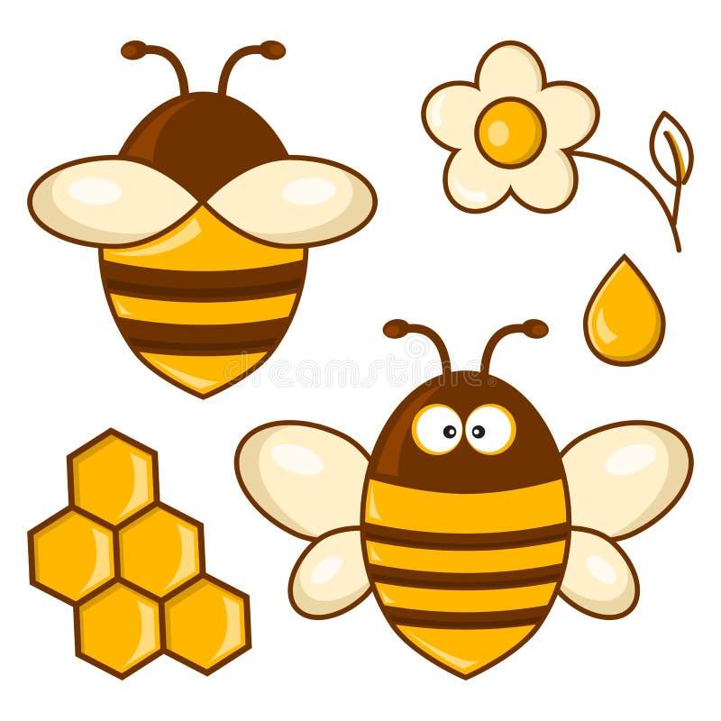 Barwiony pszczoła set również zwrócić corel ilustracji wektora ilustracja wektor