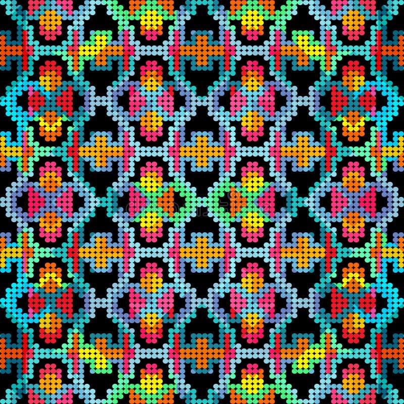 Barwiony retro abstrakcjonistyczny bezszwowy wzór w geometrycznym stylowym klasycznym kolorze z geometrycznych kształtów wektorow ilustracji