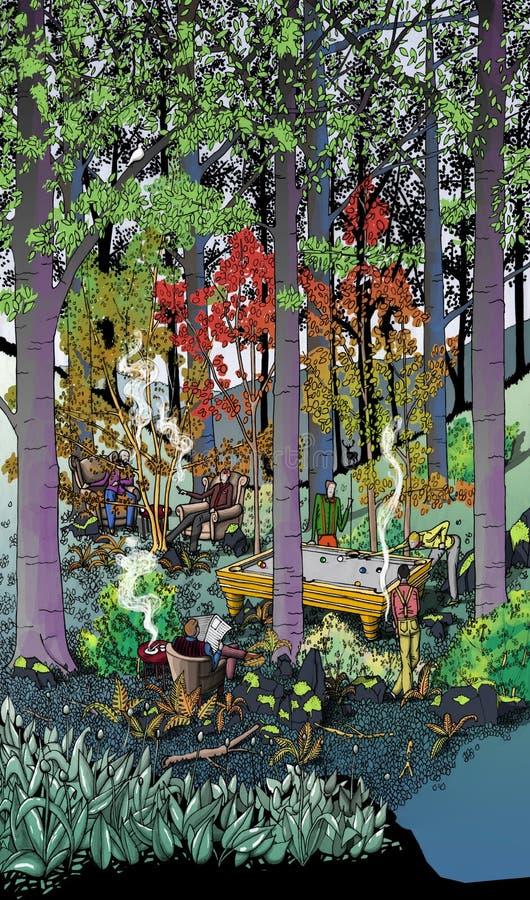 Barwiony rysunek dżentelmenu klub w lesie fotografia royalty free
