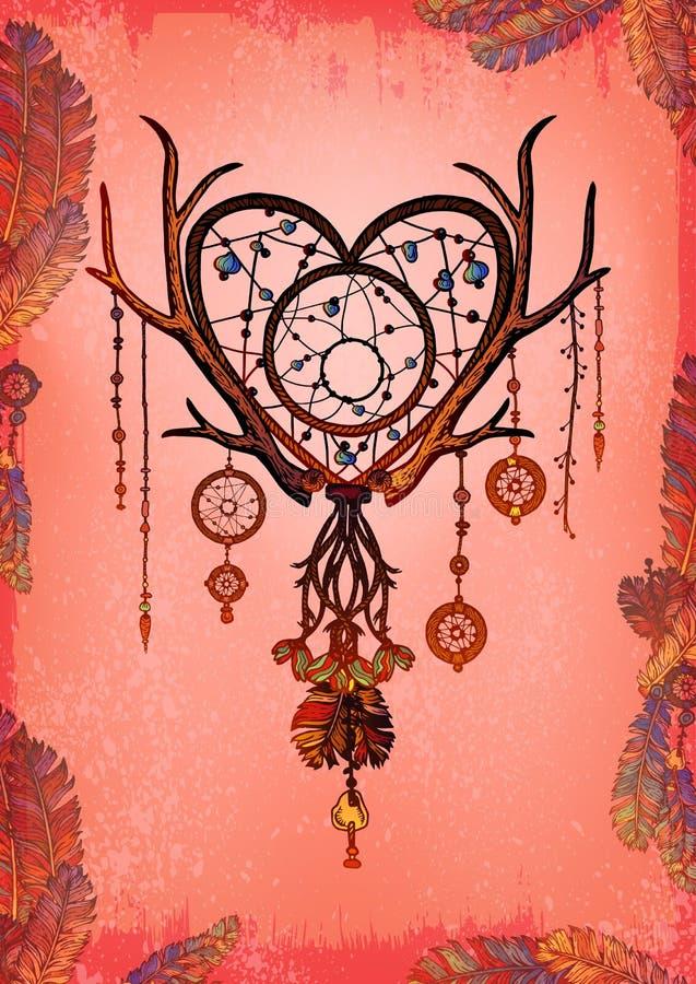 Barwiony serce kształtujący wymarzony łapacz z piórkami ilustracja wektor