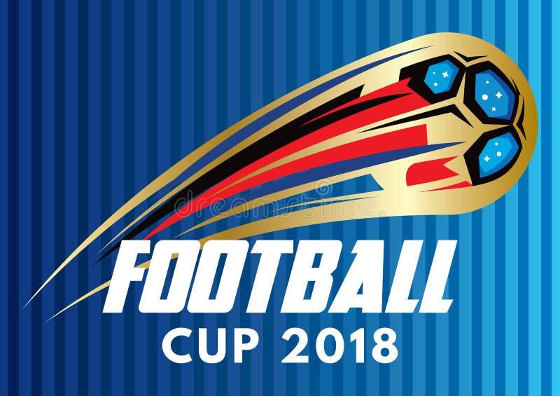 Barwiony stylizowany wektorowy plakat dla futbolowego pucharu świata 2018 royalty ilustracja