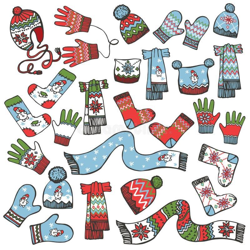 Barwiony Szkicowy Dzieci trykotowi ubraniowi akcesoria ilustracji