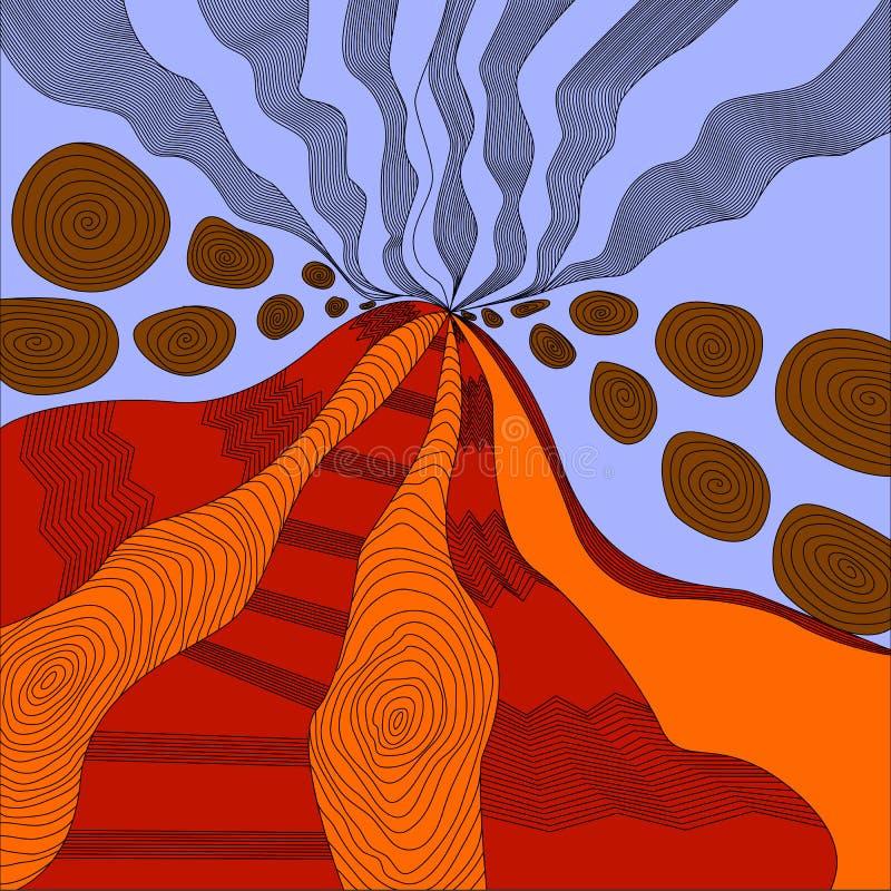 Barwiony sztuki zen, aktywny wulkan, lawa wybucha i skały, ex ilustracja wektor