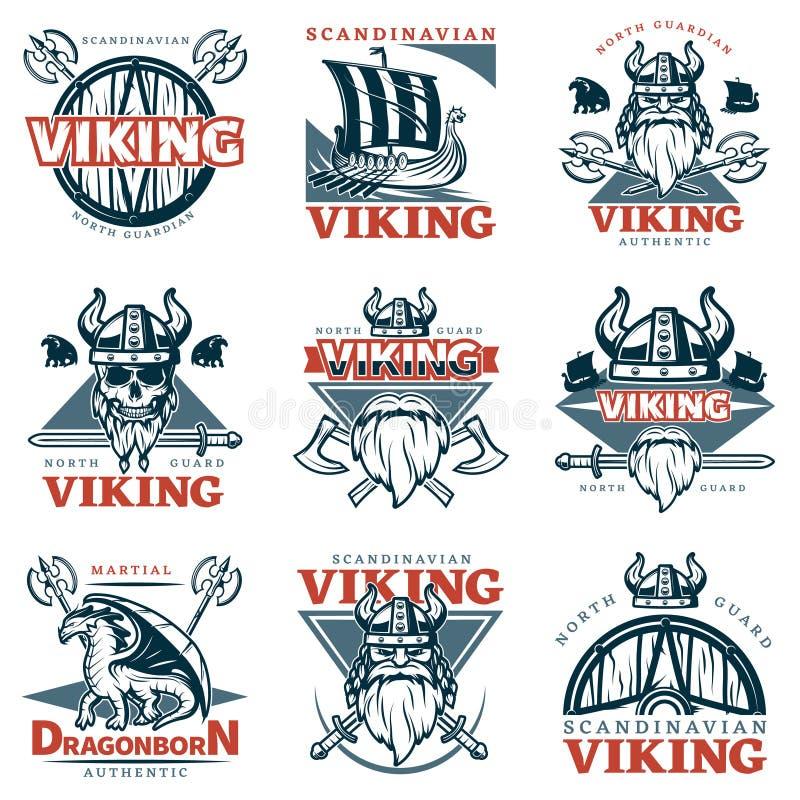 Barwiony Viking emblemata set ilustracji