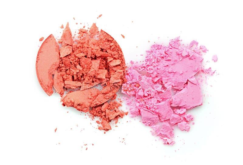Barwiony zdruzgotany eyeshadow dla uzupełniał jak próbka kosmetyczny produkt fotografia stock