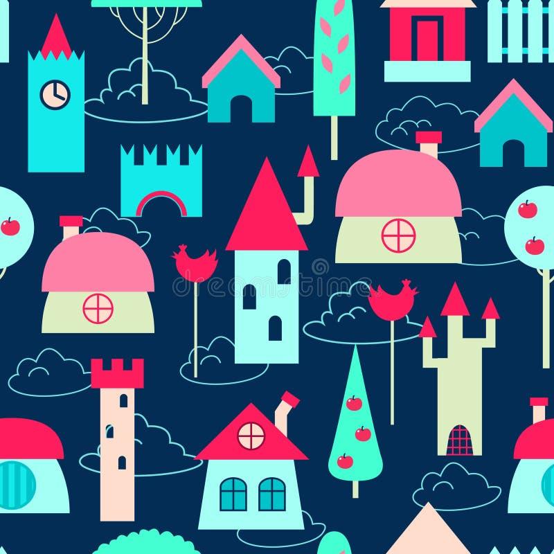 Barwionych domów bezszwowy wzór royalty ilustracja