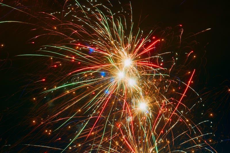 Barwionych fajerwerków świąteczny tło fotografia stock