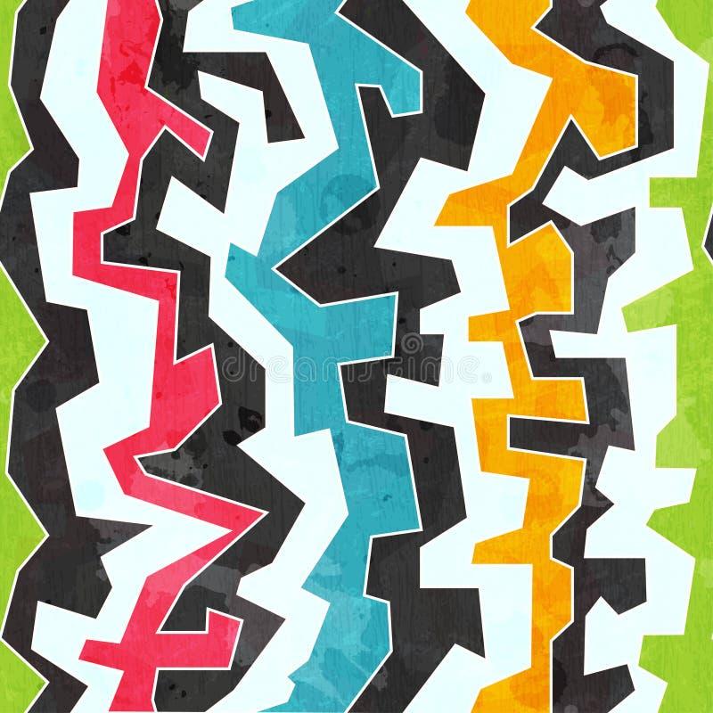 Barwionych graffiti bezszwowy wzór z grunge skutkiem ilustracja wektor