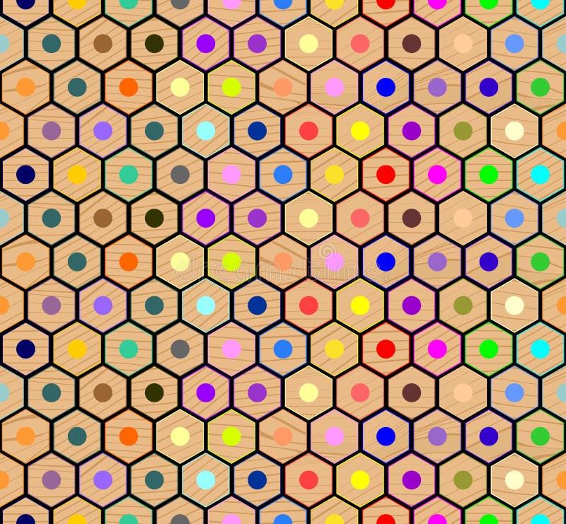 Barwionych ołówków bezszwowy wzór ilustracji