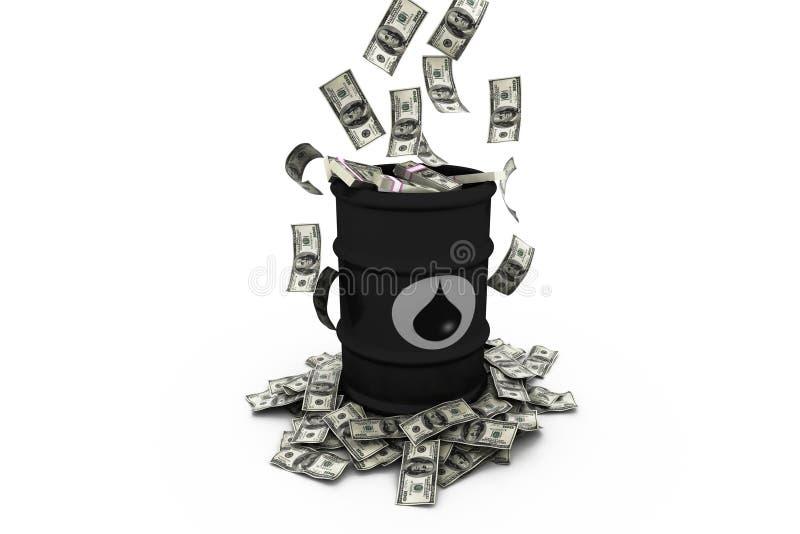 Baryła ropy naftowej z dolarami ilustracja wektor