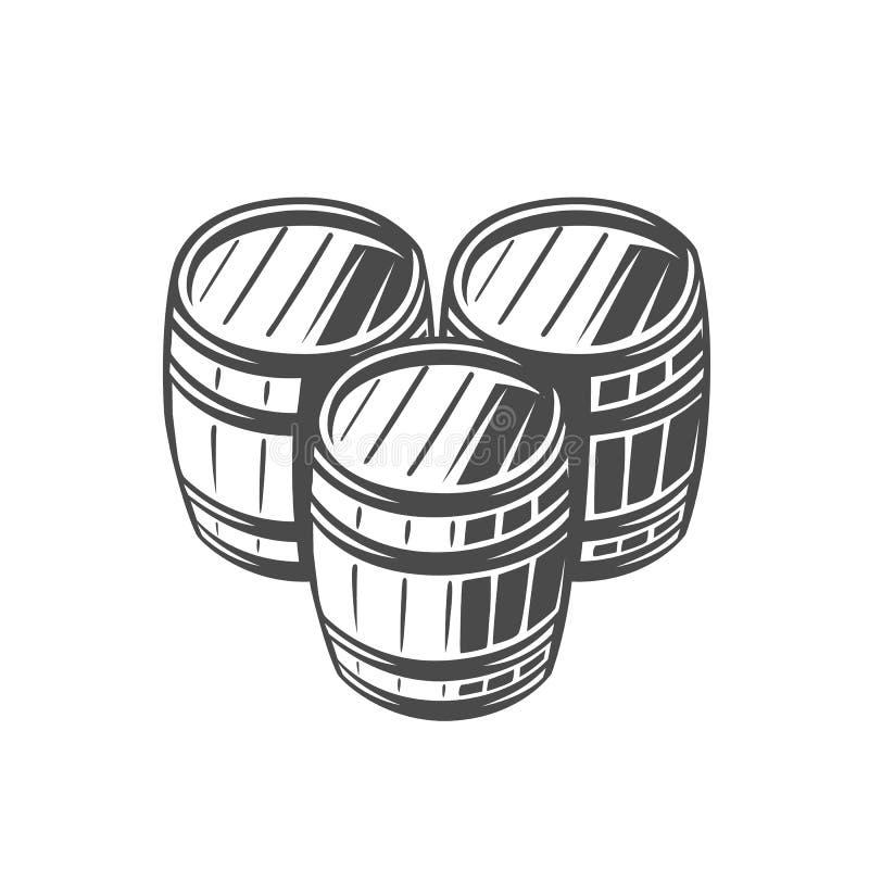 baryłka Czarny i biały ilustracja ilustracja wektor