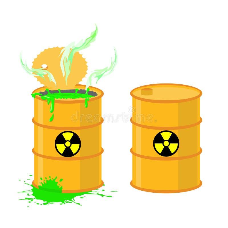 Baryłka kwas Wektorowej ilustraci otwarci bębeny z niebezpiecznym gr ilustracja wektor