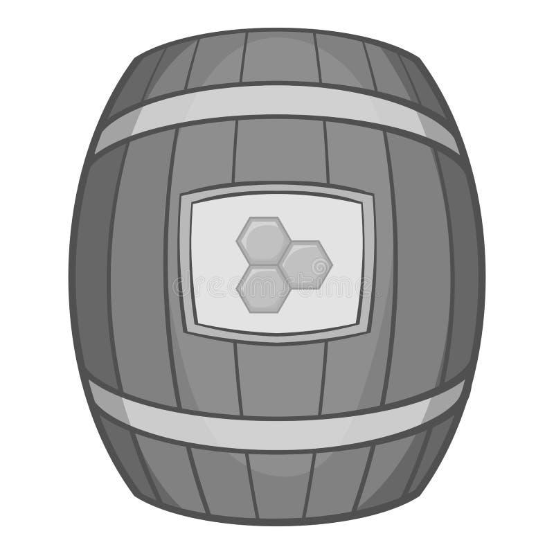 Baryłka miodowa ikona, czarny monochromu styl ilustracja wektor