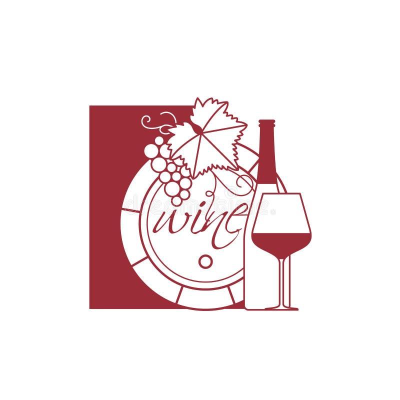 Baryłka wino, butelka, szkło, wiązka winogrona z le ilustracja wektor