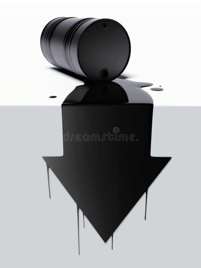 Baryłka z rozlewającym olejem w postaci strzała ilustracja wektor
