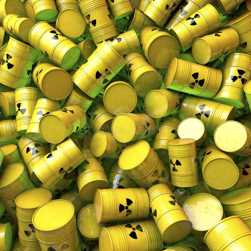 Baryłki, beczki, bębeny odpad nuklearny royalty ilustracja