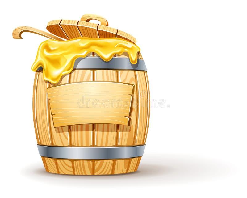 baryłki drewniany pełny miodowy ilustracja wektor