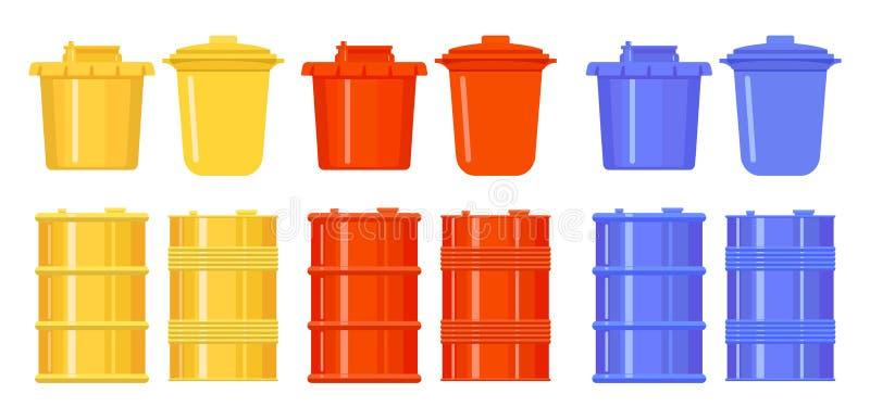Baryłki i wiadra w stylu mieszkania kolorowe ikony błękitny czerwieni kolor żółty Metal i plastikowi zbiorniki dla wody, olej, śm ilustracji