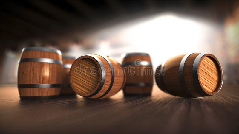 Baryłki na baru, piwa, wina, rumu, whisky, brendy i koniaka drewnianych baryłkach, Baryłki ustawiać w kamery ostrości, obrazy royalty free