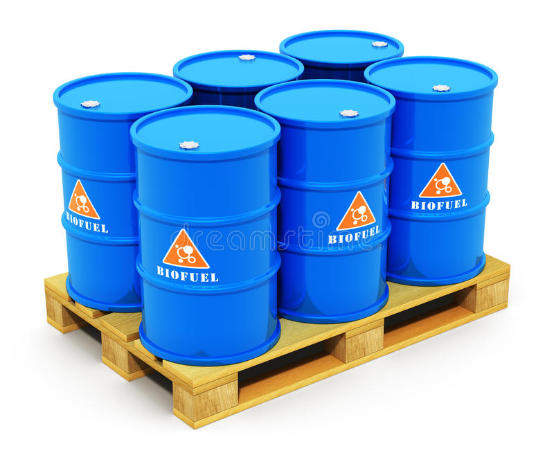 Baryłki z biopaliwo na wysyłka barłogu royalty ilustracja