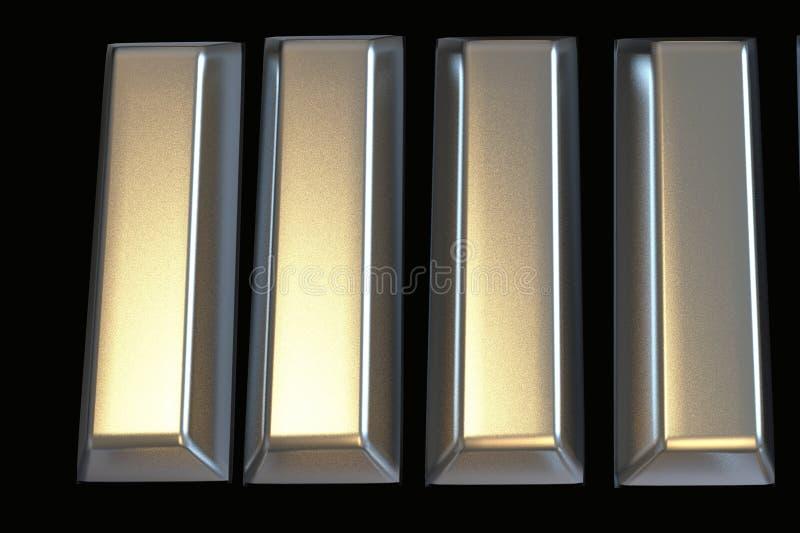 Bary platyny sztaba 3D ilustracja wektor