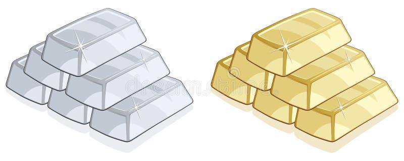 bary złoto srebro ilustracji