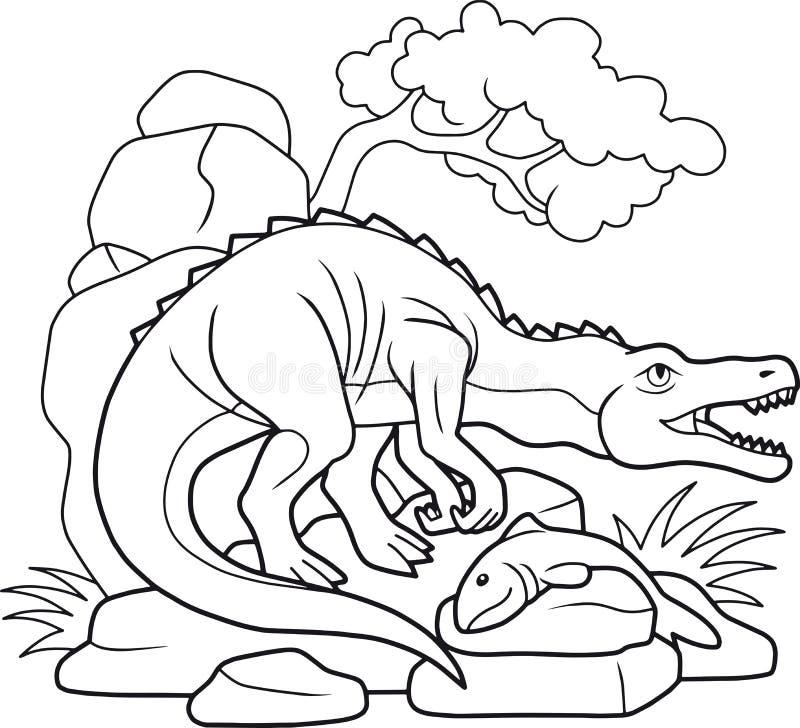 Baryonyx cogió un pescado grande libre illustration