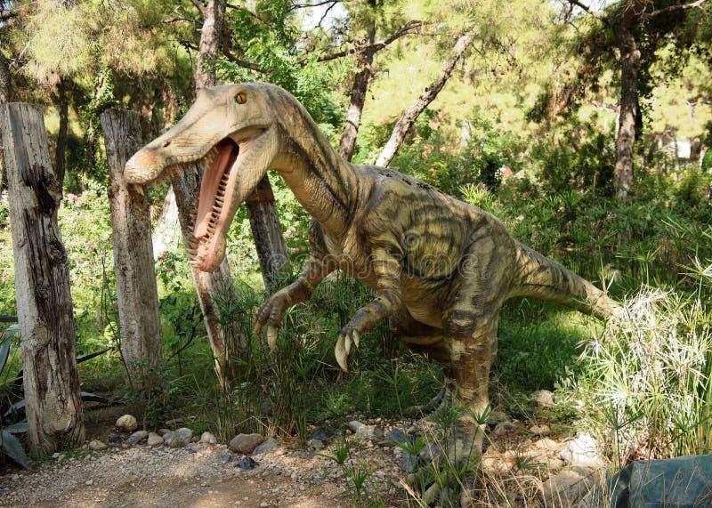 Baryonyx-krijtachtig/130-120 miljoen jaren geleden In Dinopark stock foto's